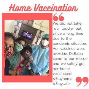 Clients who got home vaccination in Hyderabad for their toddler