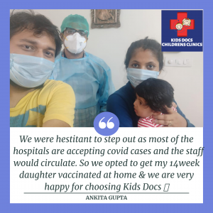 Happy clients who took the service of home vaccination in hyderabad for their kid from Kids Docs Clinic